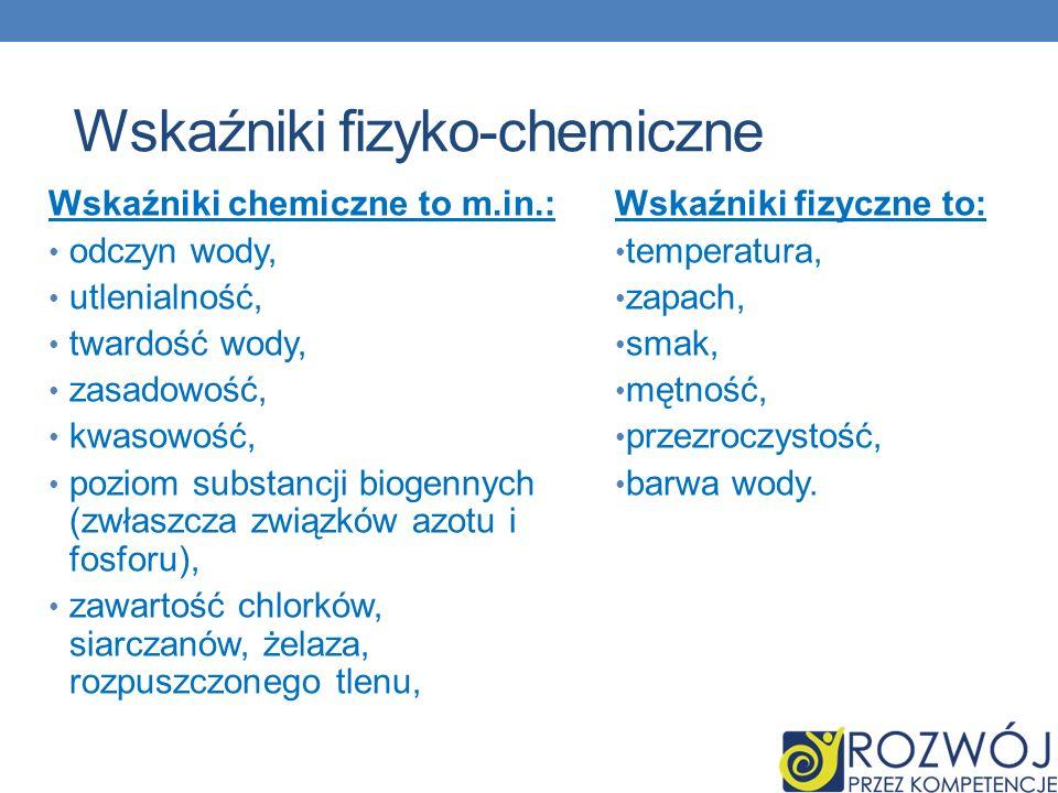 Hydrologia jako NAUKA Wskaźniki fizyko-chemiczne Wskaźniki fizyczne to: temperatura, zapach, smak, mętność, przezroczystość, barwa wody. Wskaźniki che