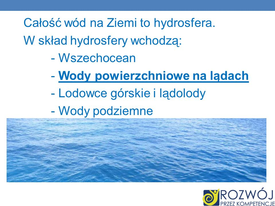 Całość wód na Ziemi to hydrosfera. W skład hydrosfery wchodzą: - Wszechocean - Wody powierzchniowe na lądach - Lodowce górskie i lądolody - Wody podzi