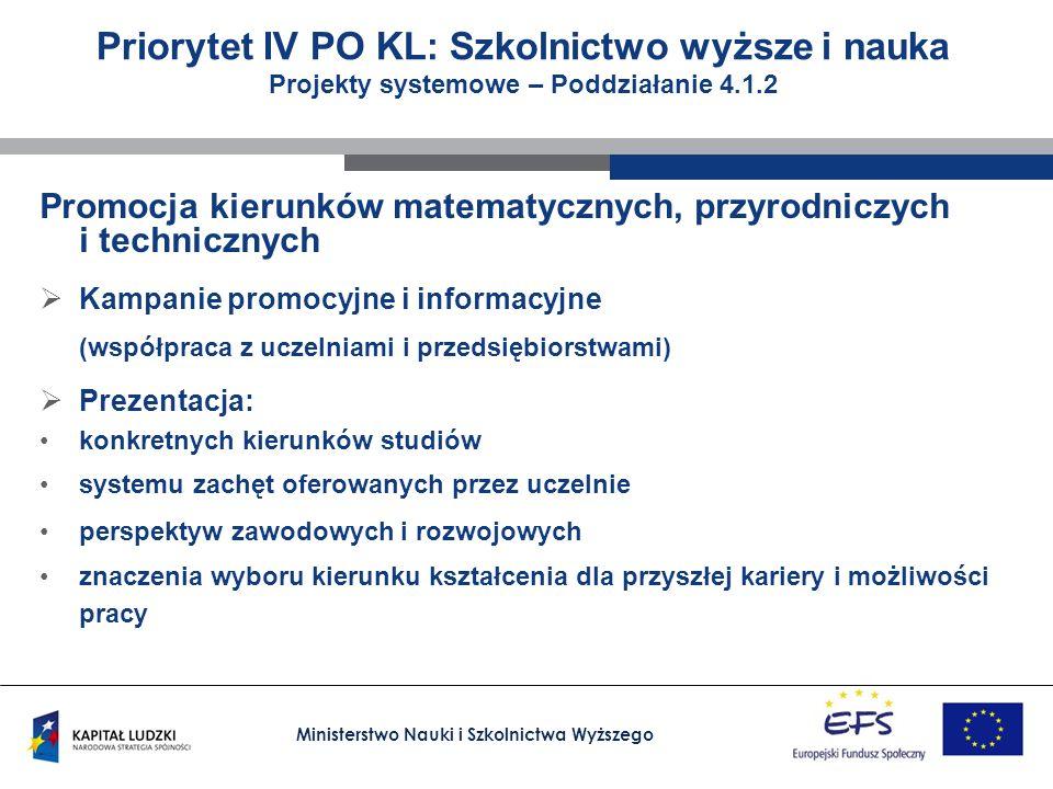 Ministerstwo Nauki i Szkolnictwa Wyższego Priorytet IV PO KL: Szkolnictwo wyższe i nauka Projekty systemowe Poddziałanie 4.1.3 Wzmocnienie systemowych narzędzi zarządzania szkolnictwem wyższym