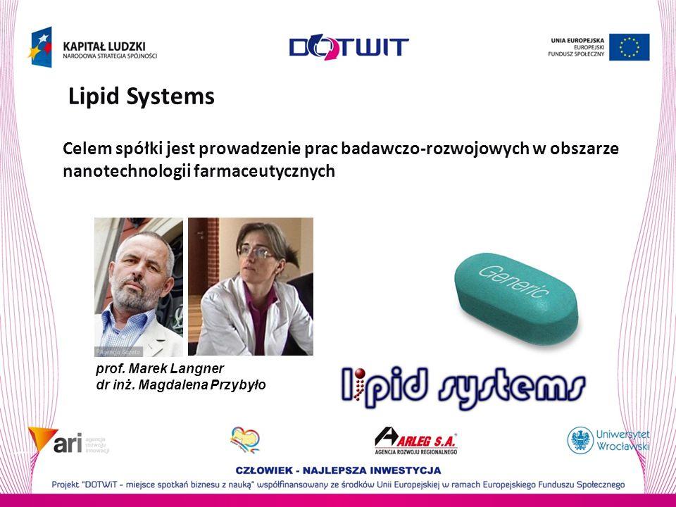 Lipid Systems Celem spółki jest prowadzenie prac badawczo-rozwojowych w obszarze nanotechnologii farmaceutycznych prof. Marek Langner dr inż. Magdalen