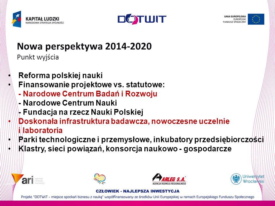 Nowa perspektywa 2014-2020 Punkt wyjścia Reforma polskiej nauki Finansowanie projektowe vs. statutowe: - Narodowe Centrum Badań i Rozwoju - Narodowe C