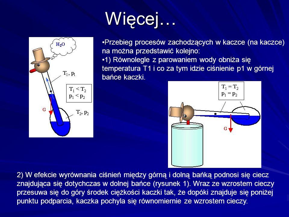 Więcej… Przebieg procesów zachodzących w kaczce (na kaczce) na można przedstawić kolejno: 1) Równolegle z parowaniem wody obniża się temperatura T1 i co za tym idzie ciśnienie p1 w górnej bańce kaczki.
