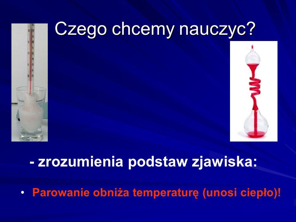 Czego chcemy nauczyc? - zrozumienia podstaw zjawiska: Parowanie obniża temperaturę (unosi ciepło)!