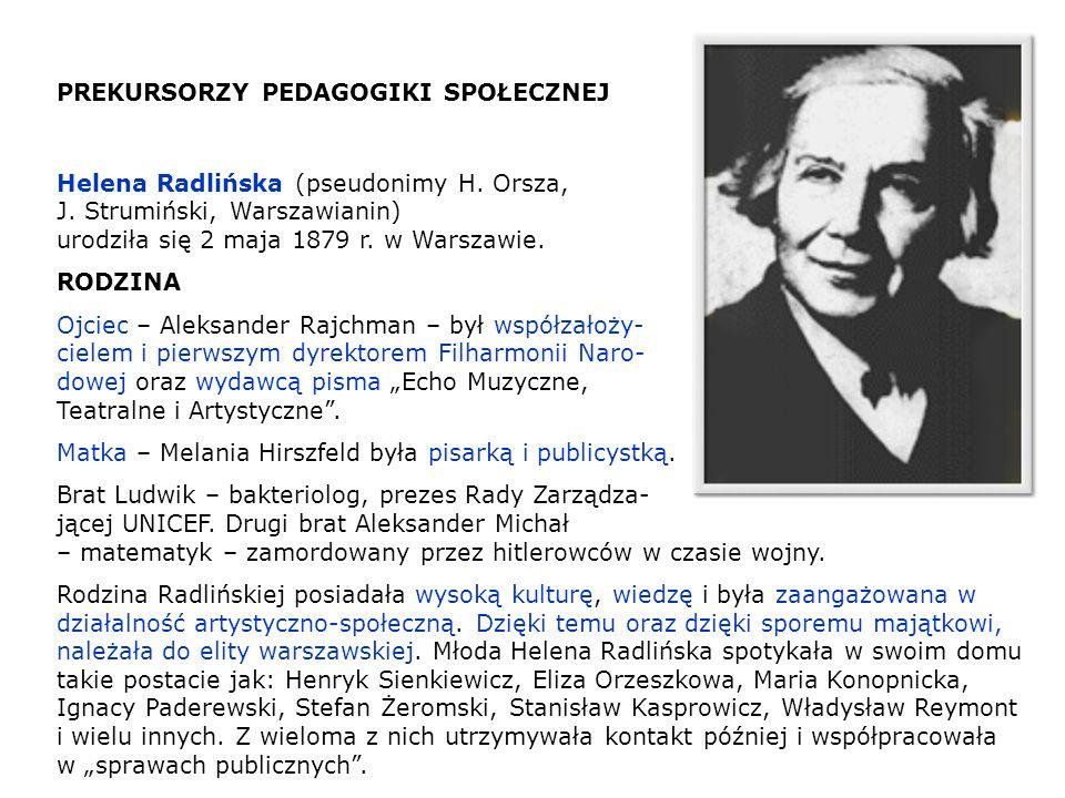 PREKURSORZY PEDAGOGIKI SPOŁECZNEJ Helena Radlińska (pseudonimy H. Orsza, J. Strumiński, Warszawianin) urodziła się 2 maja 1879 r. w Warszawie. RODZINA