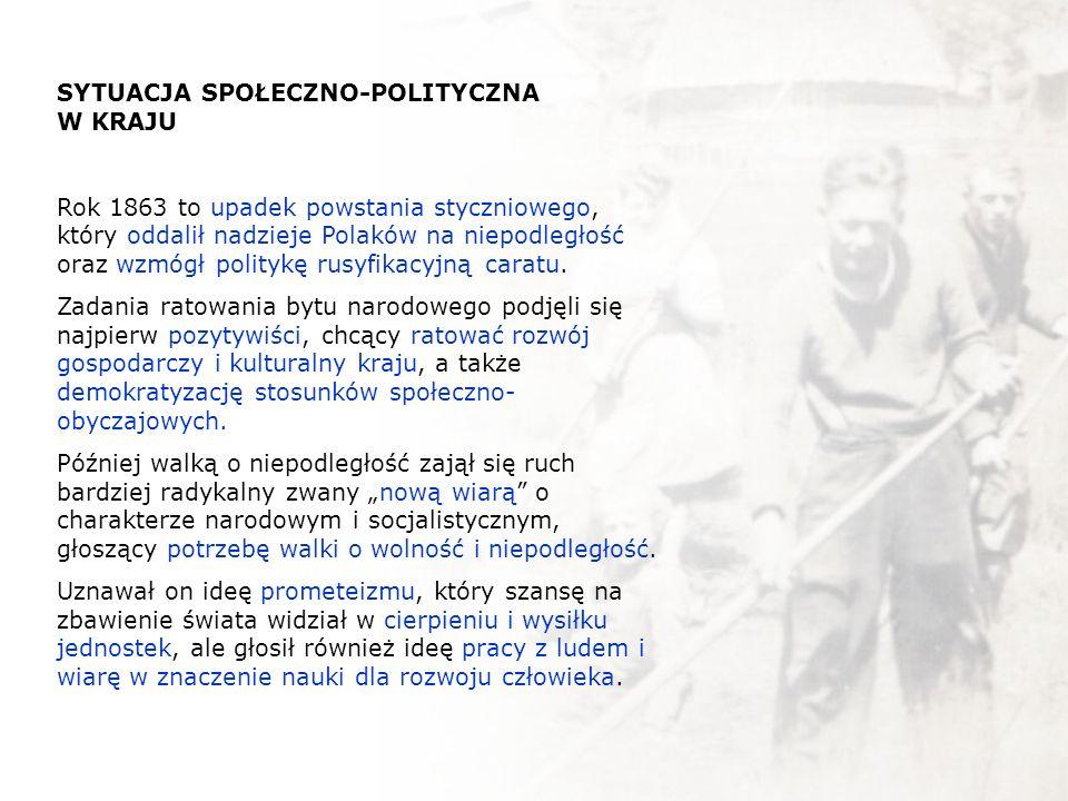 SYTUACJA SPOŁECZNO-POLITYCZNA W KRAJU Rok 1863 to upadek powstania styczniowego, który oddalił nadzieje Polaków na niepodległość oraz wzmógł politykę