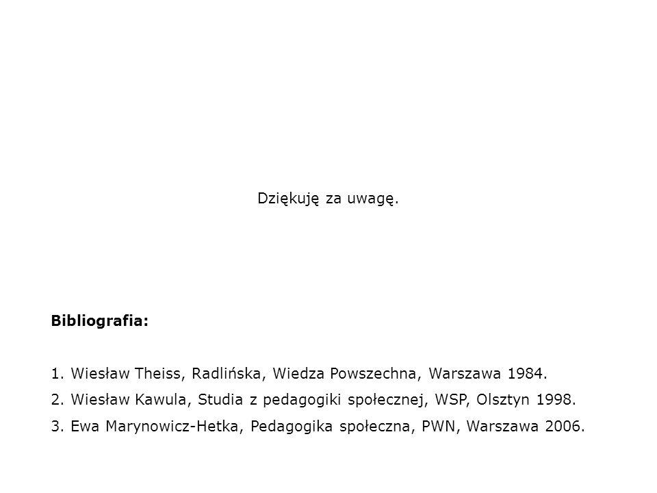 Bibliografia: 1. Wiesław Theiss, Radlińska, Wiedza Powszechna, Warszawa 1984. 2. Wiesław Kawula, Studia z pedagogiki społecznej, WSP, Olsztyn 1998. 3.
