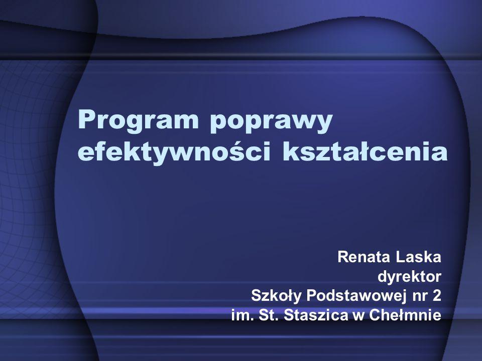Program poprawy efektywności kształcenia Renata Laska dyrektor Szkoły Podstawowej nr 2 im. St. Staszica w Chełmnie