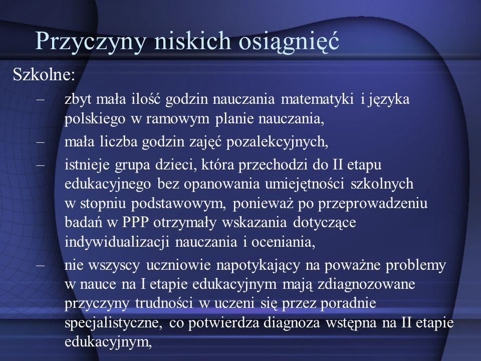 Szkolne: –zbyt mała ilość godzin nauczania matematyki i języka polskiego w ramowym planie nauczania, –mała liczba godzin zajęć pozalekcyjnych, –istnie