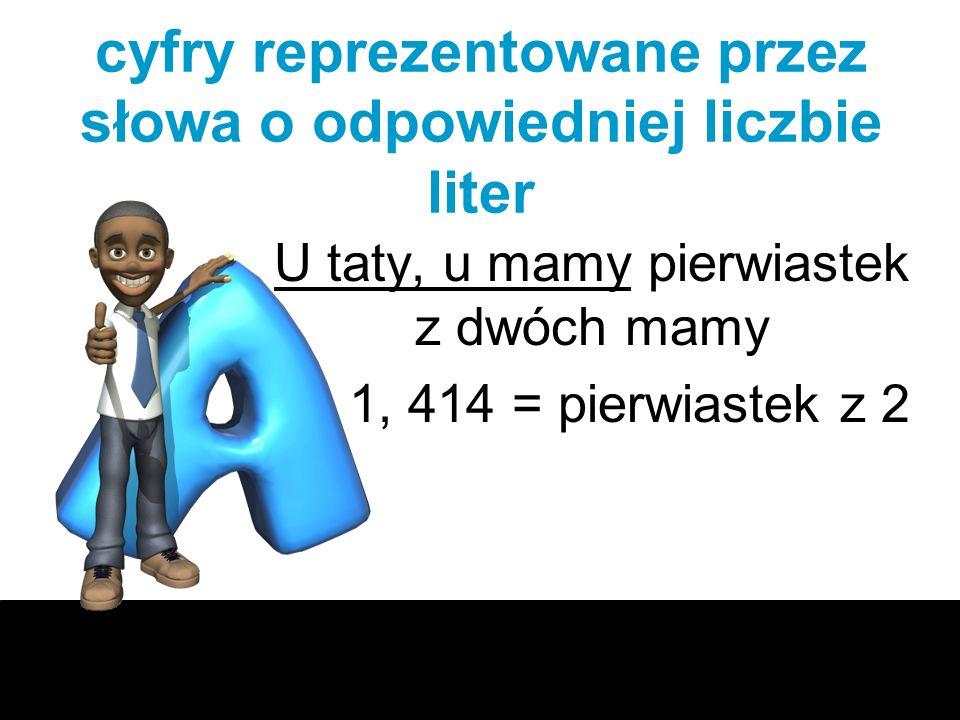 cyfry reprezentowane przez słowa o odpowiedniej liczbie liter U taty, u mamy pierwiastek z dwóch mamy 1, 414 = pierwiastek z 2