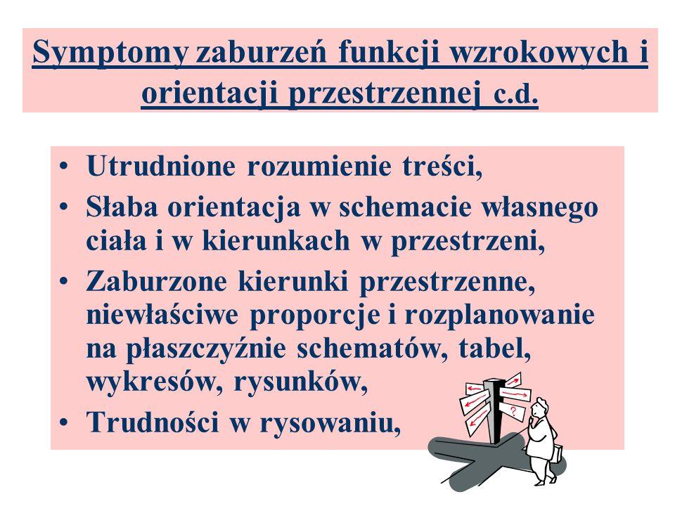 Symptomy zaburzeń funkcji wzrokowych i orientacji przestrzennej c.d. Pomijanie drobnych elementów graficznych, Błędy ortograficzne, Rozpoznawanie napi