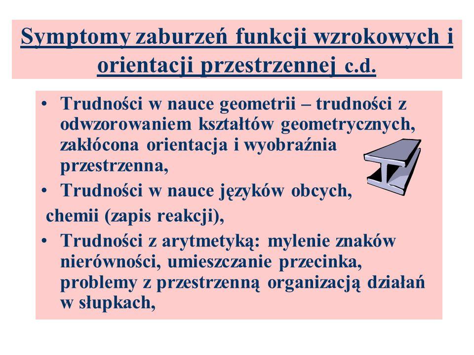 Symptomy zaburzeń funkcji wzrokowych i orientacji przestrzennej c.d. Ubogie i prymitywne rysunki, asymetria, chaos, brak proporcji, Trudności w zrozum
