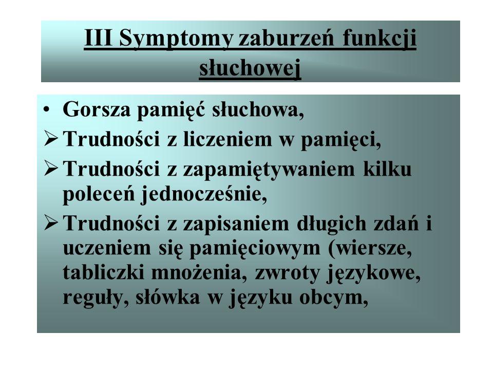 III Symptomy zaburzeń funkcji słuchowej W pisaniu ujawniają się przezwyciężone wady wymowy, Nienadążanie z pisaniem, Prymitywna technika czytania – gł