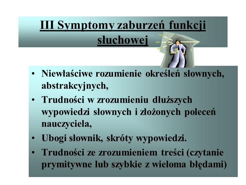 III Symptomy zaburzeń funkcji słuchowej Gorsza pamięć słuchowa, Trudności z liczeniem w pamięci, Trudności z zapamiętywaniem kilku poleceń jednocześni
