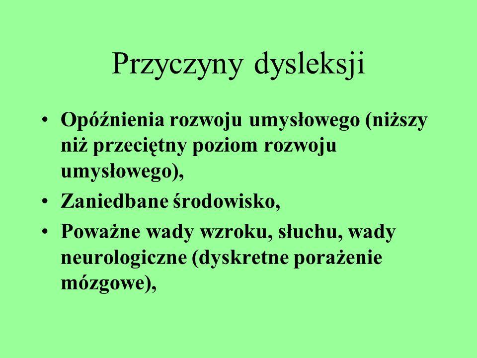 Dysleksja jako trudności w czytaniu, któremu często towarzyszy trudność w pisaniu. Zaburzenie zdolności przyswajania wiedzy. Dysgrafia – trudności w g