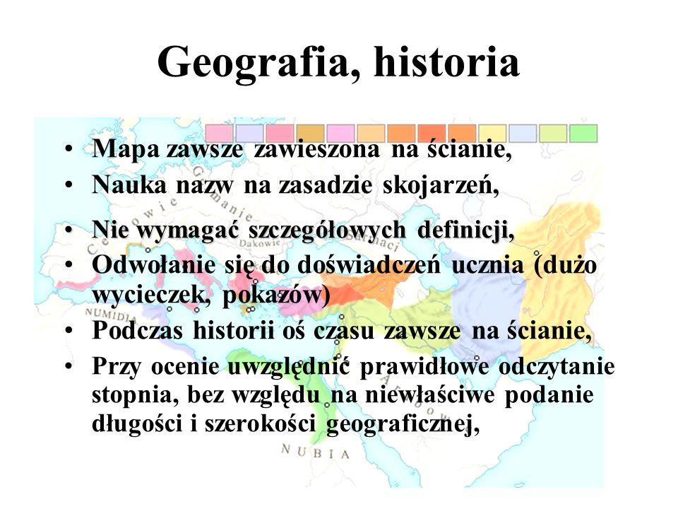 Wymaganie polskiego nazewnictwa (biologia) Przeprowadzanie dłuższych doświadczeń, o których uczeń opowiada, Odpytywanie zawsze, kiedy uczeń zgłasza ch