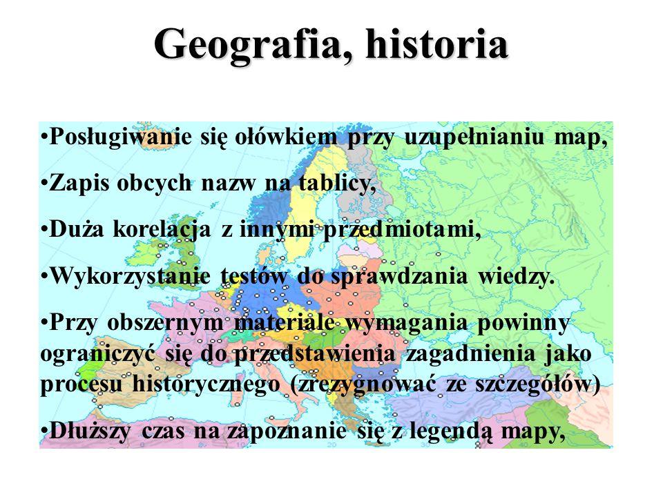 Geografia, historia Mapa zawsze zawieszona na ścianie, Nauka nazw na zasadzie skojarzeń, Nie wymagać szczegółowych definicji,Nie wymagać szczegółowych
