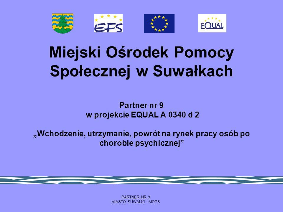 Miejski Ośrodek Pomocy Społecznej w Suwałkach Partner nr 9 w projekcie EQUAL A 0340 d 2 Wchodzenie, utrzymanie, powrót na rynek pracy osób po chorobie