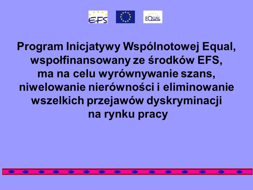 Program Inicjatywy Wspólnotowej Equal, wspołfinansowany ze środków EFS, ma na celu wyrównywanie szans, niwelowanie nierówności i eliminowanie wszelkic