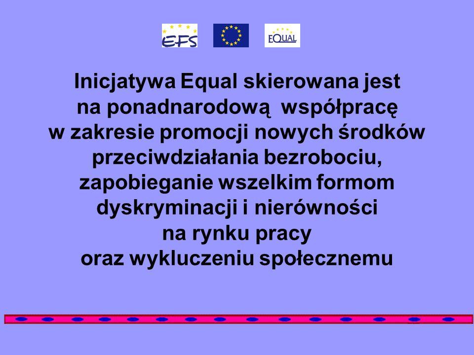 Inicjatywa Equal skierowana jest na ponadnarodową współpracę w zakresie promocji nowych środków przeciwdziałania bezrobociu, zapobieganie wszelkim for