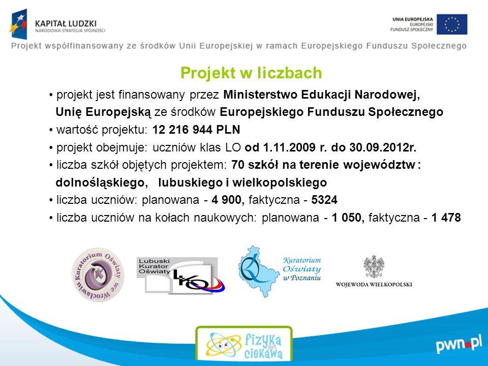 projekt jest finansowany przez Ministerstwo Edukacji Narodowej, Unię Europejską ze środków Europejskiego Funduszu Społecznego wartość projektu: 12 216 944 PLN projekt obejmuje: uczniów klas LO od 1.11.2009 r.