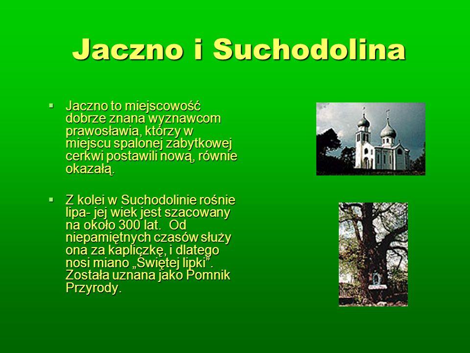 Jaczno i Suchodolina Jaczno to miejscowość dobrze znana wyznawcom prawosławia, którzy w miejscu spalonej zabytkowej cerkwi postawili nową, równie okazałą.