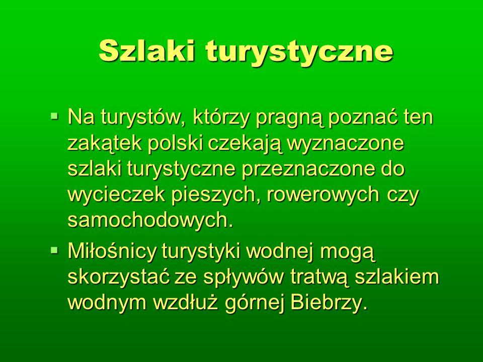 Szlaki turystyczne Na turystów, którzy pragną poznać ten zakątek polski czekają wyznaczone szlaki turystyczne przeznaczone do wycieczek pieszych, rowerowych czy samochodowych.