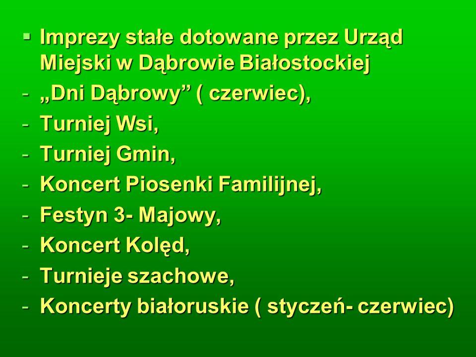 Imprezy stałe dotowane przez Urząd Miejski w Dąbrowie Białostockiej Imprezy stałe dotowane przez Urząd Miejski w Dąbrowie Białostockiej -Dni Dąbrowy ( czerwiec), -Turniej Wsi, -Turniej Gmin, -Koncert Piosenki Familijnej, -Festyn 3- Majowy, -Koncert Kolęd, -Turnieje szachowe, -Koncerty białoruskie ( styczeń- czerwiec)