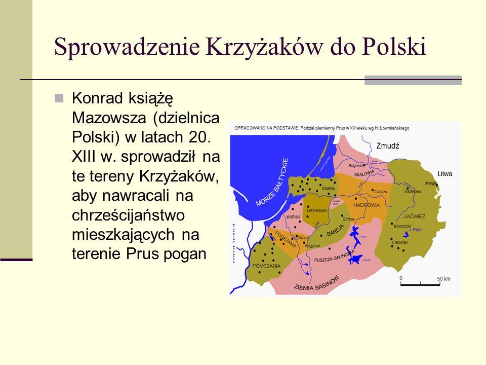 Sprowadzenie Krzyżaków do Polski Konrad książę Mazowsza (dzielnica Polski) w latach 20. XIII w. sprowadził na te tereny Krzyżaków, aby nawracali na ch