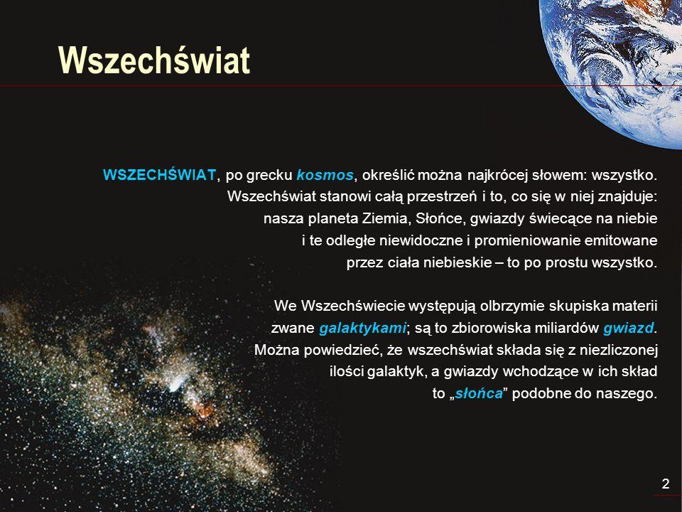 3 Wyobrażenie Wszechświata Najłatwiej wyobrazić sobie, że Wszechświat jest ciągle rozszerzającą się kulą, skutkiem czego wszystkie jego punkty oddalają się od siebie.