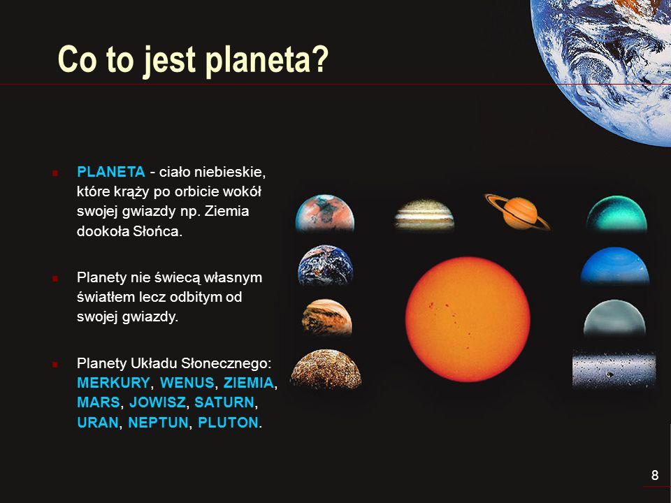 9 Ziemia Ziemia – dane o planecie Średnia odległość od Słońca 149,6 mln km Okres obiegu wokół Słońca 365,25 dnia Prędkość ruchu obrotowego 29,8 km/s Okres obrotu 23,93 godzin Średnica równikowa 12 756 km Temperatura na powierzchni od -70 C do +55 C Grawitacja (Ziemia = 1) 1 Liczba księżyców1