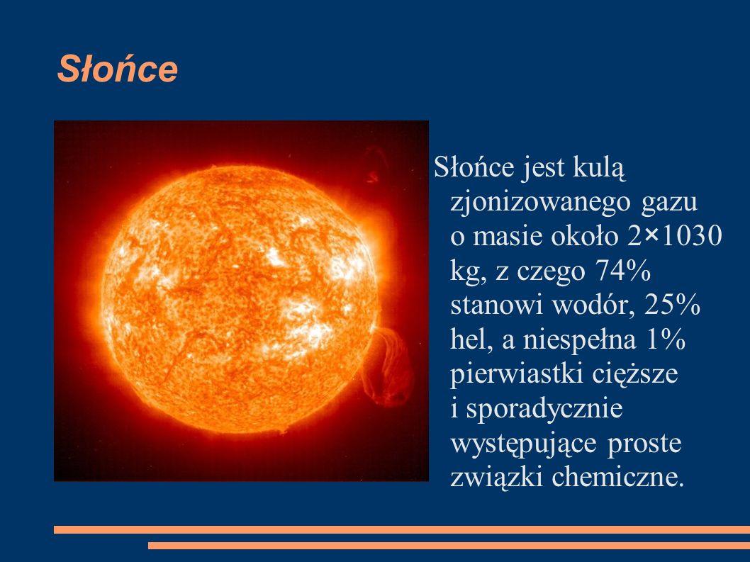 Słońce Słońce jest kulą zjonizowanego gazu o masie około 2×1030 kg, z czego 74% stanowi wodór, 25% hel, a niespełna 1% pierwiastki cięższe i sporadycznie występujące proste związki chemiczne.
