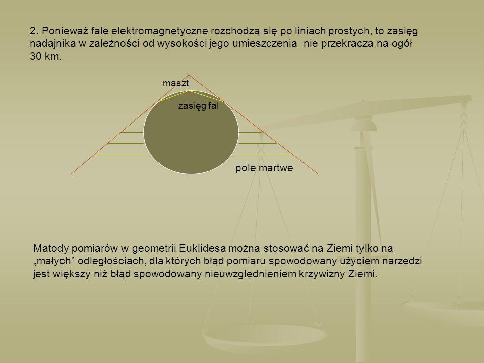 2. Ponieważ fale elektromagnetyczne rozchodzą się po liniach prostych, to zasięg nadajnika w zależności od wysokości jego umieszczenia nie przekracza