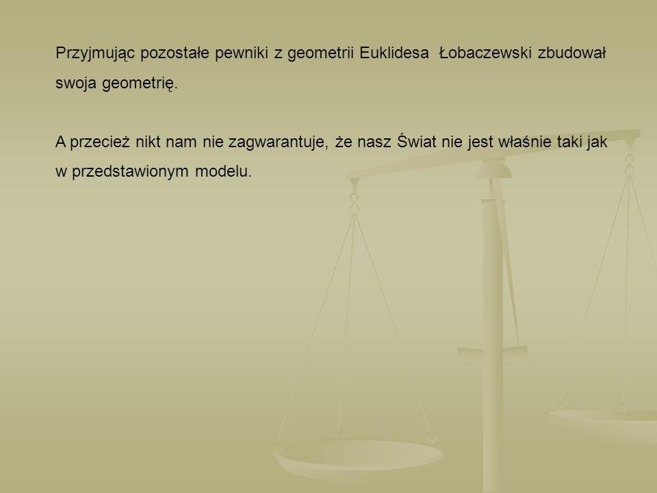 Przyjmując pozostałe pewniki z geometrii Euklidesa Łobaczewski zbudował swoja geometrię. A przecież nikt nam nie zagwarantuje, że nasz Świat nie jest