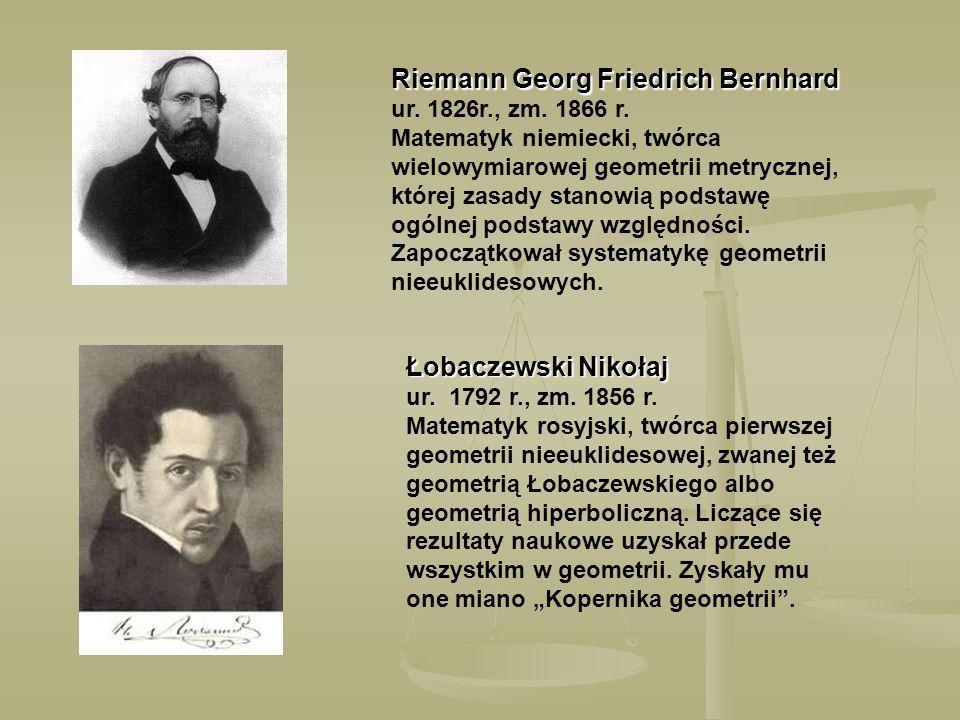 Riemann Georg Friedrich Bernhard Riemann Georg Friedrich Bernhard ur. 1826r., zm. 1866 r. Matematyk niemiecki, twórca wielowymiarowej geometrii metryc