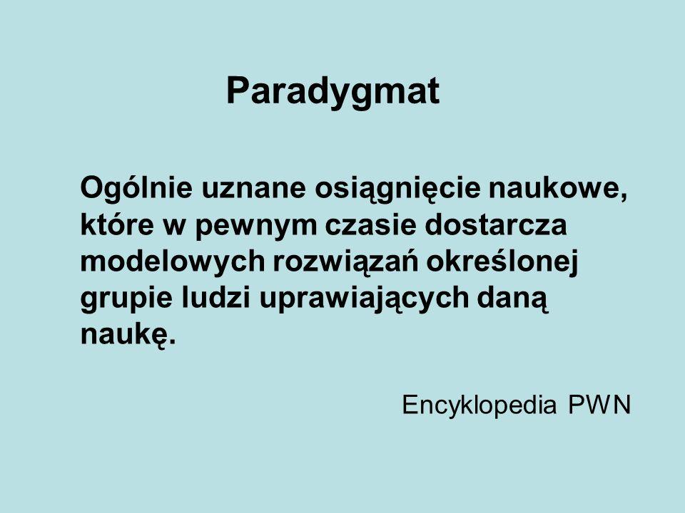 Paradygmat Ogólnie uznane osiągnięcie naukowe, które w pewnym czasie dostarcza modelowych rozwiązań określonej grupie ludzi uprawiających daną naukę.