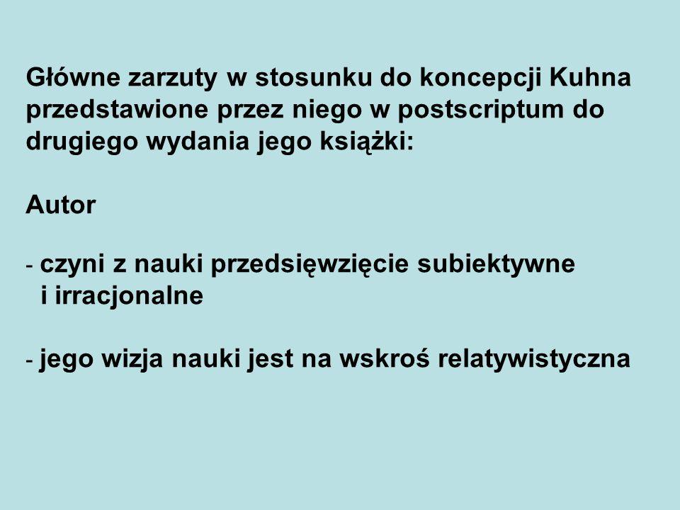 Główne zarzuty w stosunku do koncepcji Kuhna przedstawione przez niego w postscriptum do drugiego wydania jego książki: Autor - czyni z nauki przedsię