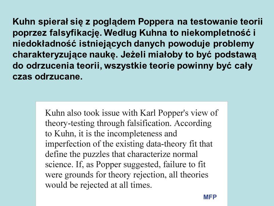 Kuhn spierał się z poglądem Poppera na testowanie teorii poprzez falsyfikację. Według Kuhna to niekompletność i niedokładność istniejących danych powo