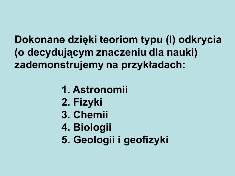 Dokonane dzięki teoriom typu (I) odkrycia (o decydującym znaczeniu dla nauki) zademonstrujemy na przykładach: 1. Astronomii 2. Fizyki 3. Chemii 4. Bio