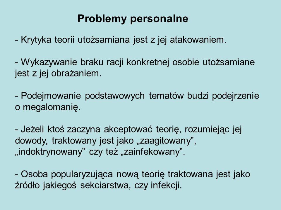 Problemy personalne - Krytyka teorii utożsamiana jest z jej atakowaniem. - Wykazywanie braku racji konkretnej osobie utożsamiane jest z jej obrażaniem
