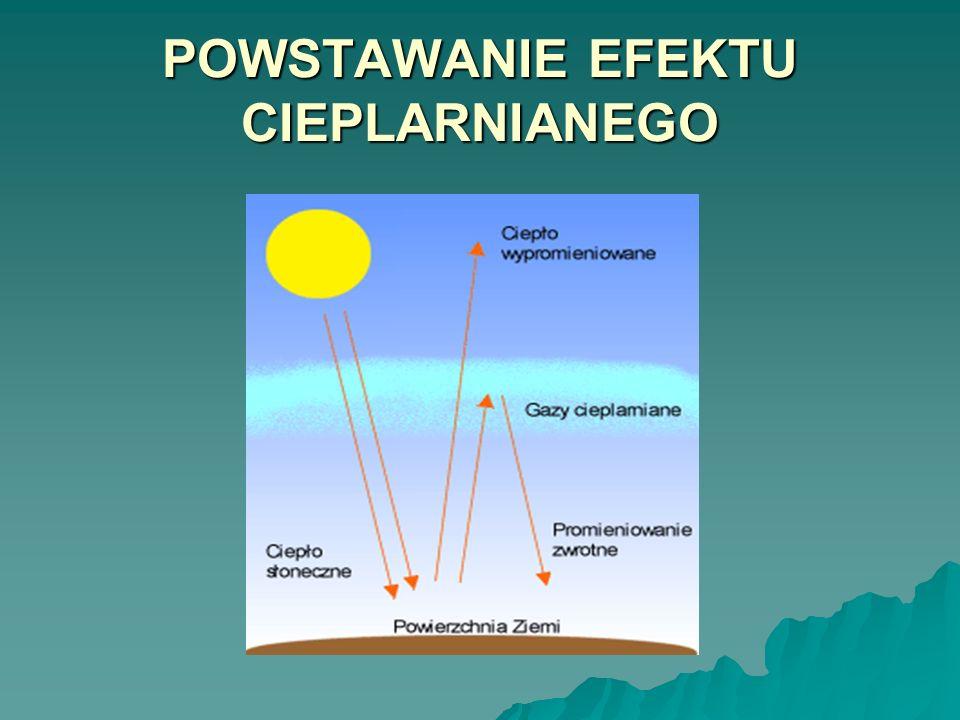 Promieniowanie słoneczne docierające na Ziemię powoduje ogrzanie jej powierzchni.