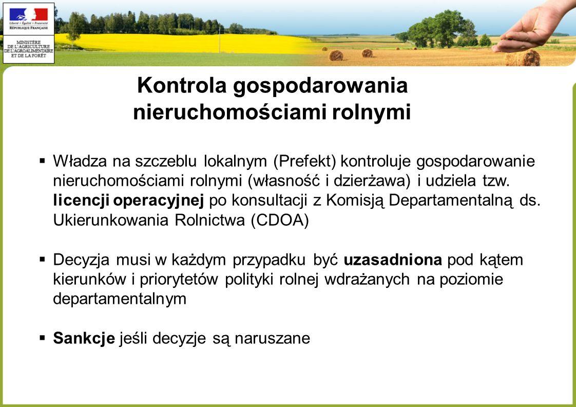Kontrola gospodarowania nieruchomościami rolnymi Władza na szczeblu lokalnym (Prefekt) kontroluje gospodarowanie nieruchomościami rolnymi (własność i dzierżawa) i udziela tzw.