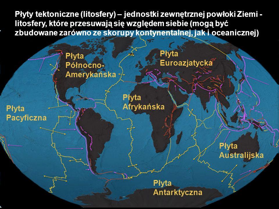 Płyty tektoniczne (litosfery) – jednostki zewnętrznej powłoki Ziemi - litosfery, które przesuwają się względem siebie (mogą być zbudowane zarówno ze s