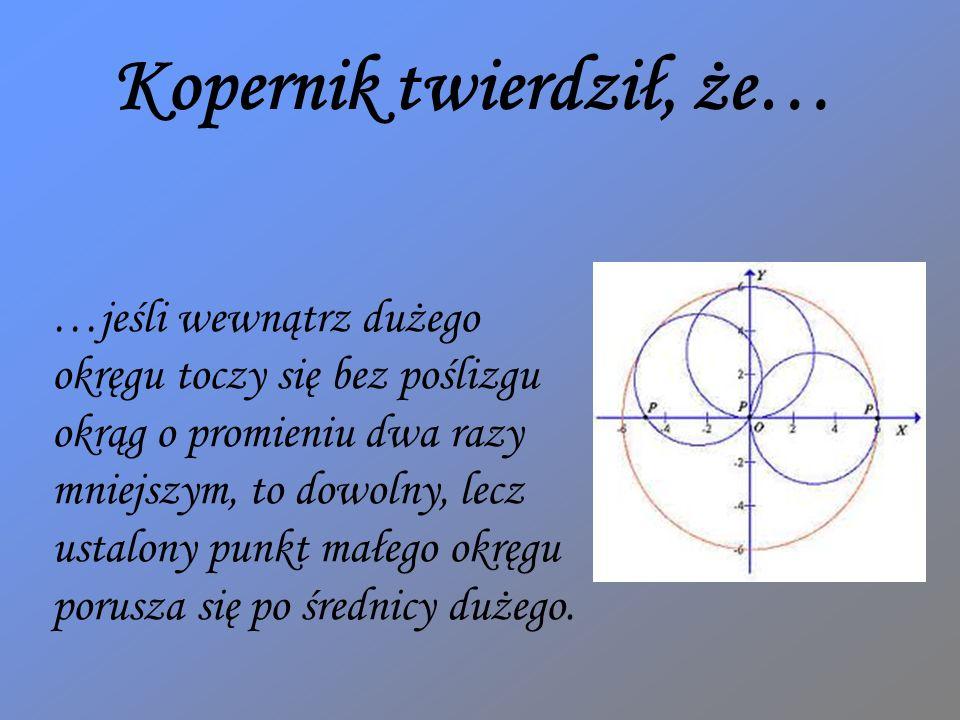 …jeśli wewnątrz dużego okręgu toczy się bez poślizgu okrąg o promieniu dwa razy mniejszym, to dowolny, lecz ustalony punkt małego okręgu porusza się p