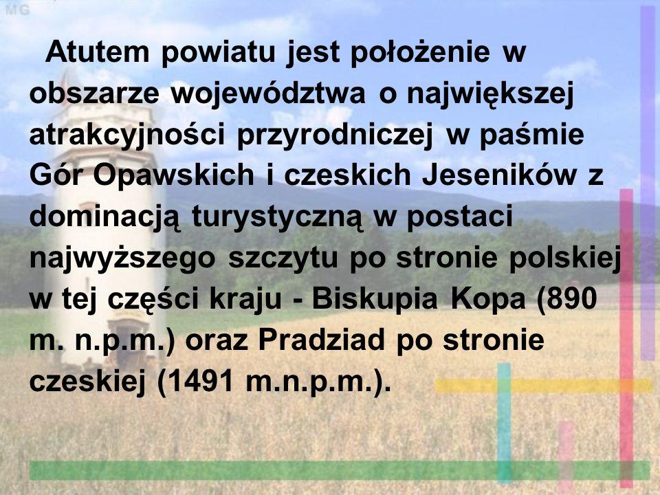 Atutem powiatu jest położenie w obszarze województwa o największej atrakcyjności przyrodniczej w paśmie Gór Opawskich i czeskich Jeseników z dominacją turystyczną w postaci najwyższego szczytu po stronie polskiej w tej części kraju - Biskupia Kopa (890 m.