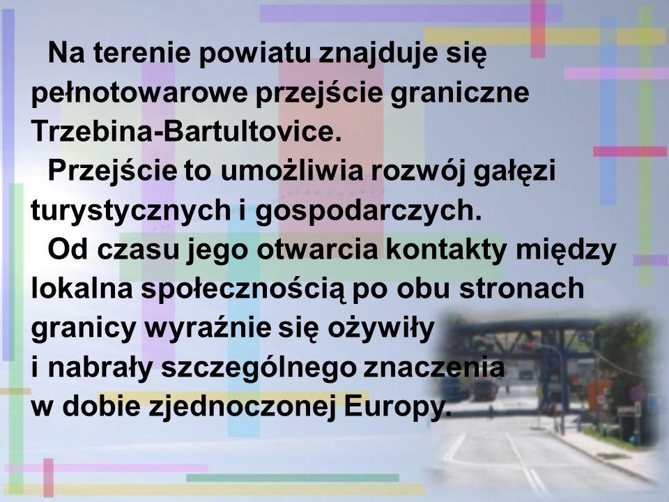 Na terenie powiatu znajduje się pełnotowarowe przejście graniczne Trzebina-Bartultovice. Przejście to umożliwia rozwój gałęzi turystycznych i gospodar