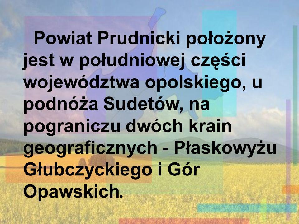 Powiat Prudnicki położony jest w południowej części województwa opolskiego, u podnóża Sudetów, na pograniczu dwóch krain geograficznych - Płaskowyżu Głubczyckiego i Gór Opawskich.