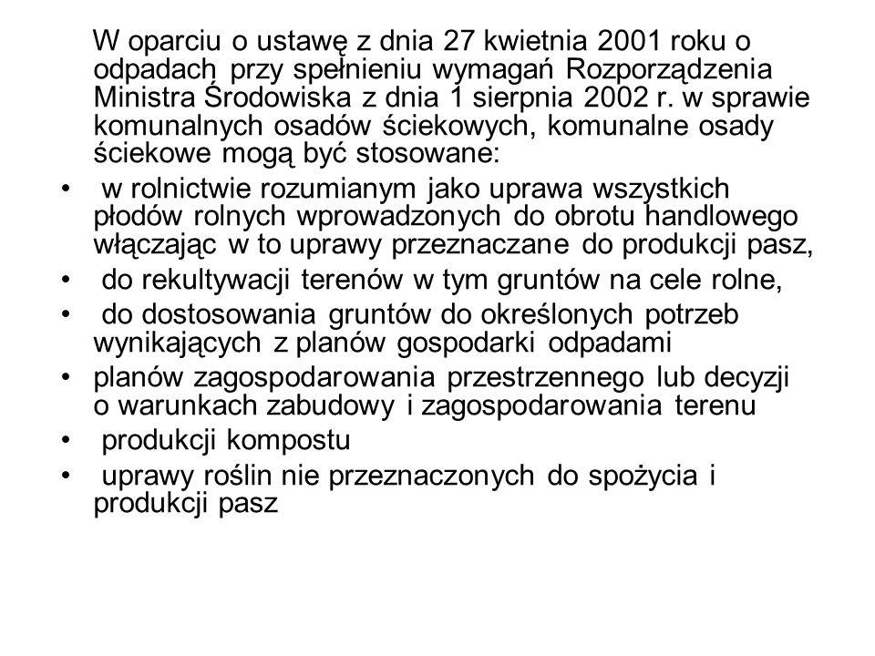 W oparciu o ustawę z dnia 27 kwietnia 2001 roku o odpadach przy spełnieniu wymagań Rozporządzenia Ministra Środowiska z dnia 1 sierpnia 2002 r. w spra