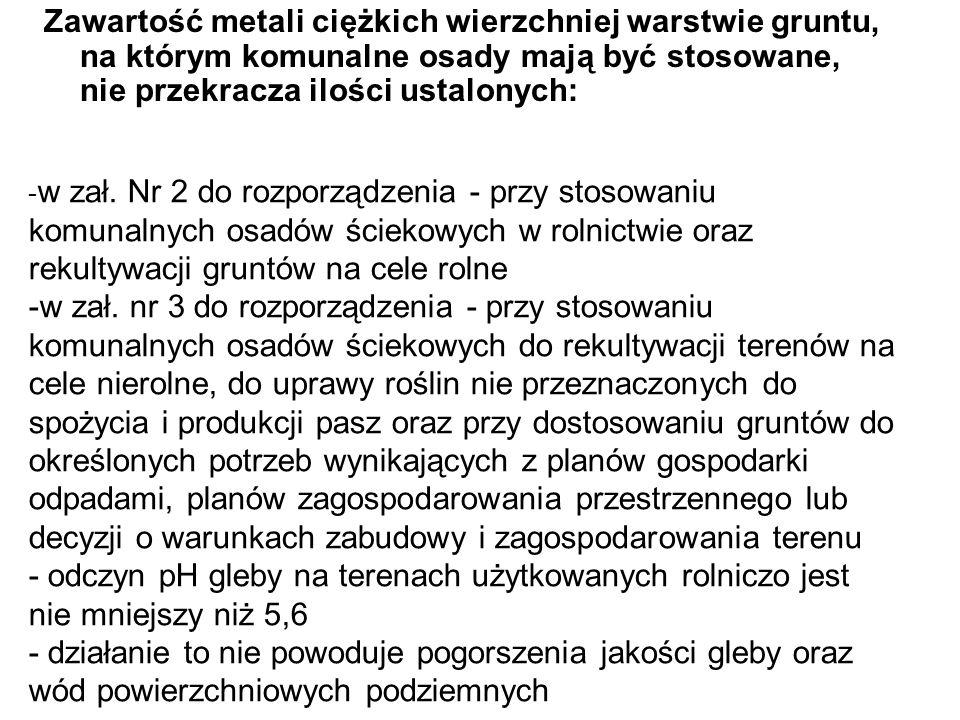 Zawartość metali ciężkich wierzchniej warstwie gruntu, na którym komunalne osady mają być stosowane, nie przekracza ilości ustalonych: - w zał. Nr 2 d