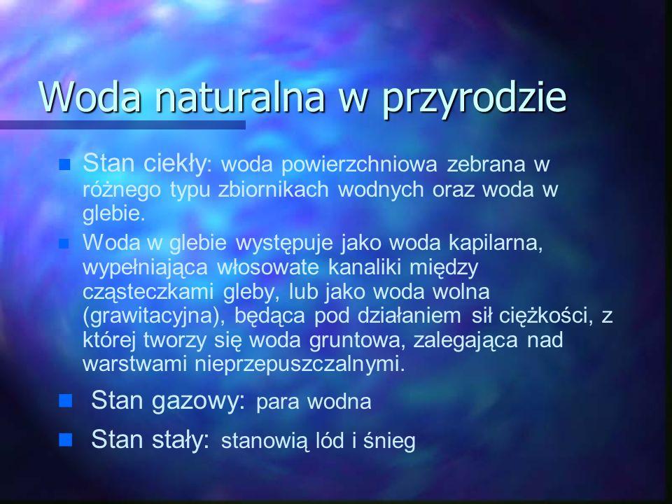 Woda naturalna w przyrodzie n n Stan ciekły : woda powierzchniowa zebrana w różnego typu zbiornikach wodnych oraz woda w glebie.