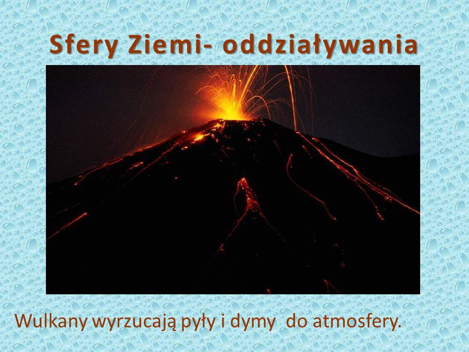 Sfery Ziemi- oddziaływania Wulkany wyrzucają pyły i dymy do atmosfery.